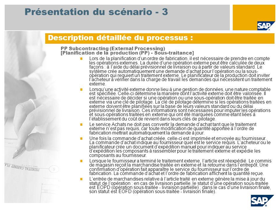 Présentation du scénario - 3 PP Subcontracting (External Processing) [Planification de la production (PP) - Sous-traitance] Lors de la planification dun ordre de fabrication, il est nécessaire de prendre en compte les opérations externes.