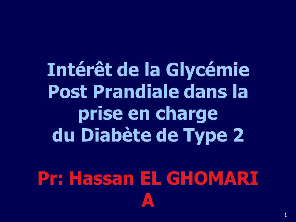 1 Intérêt de la Glycémie Post Prandiale dans la prise en charge du Diabète de Type 2 Pr: Hassan EL GHOMARI A