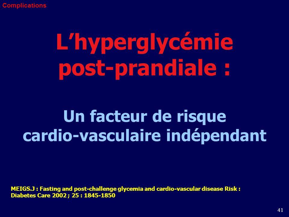 41 Lhyperglycémie post-prandiale : Un facteur de risque cardio-vasculaire indépendant MEIGS.J : Fasting and post-challenge glycemia and cardio-vascular disease Risk : Diabetes Care 2002 ; 25 : 1845-1850 Complications