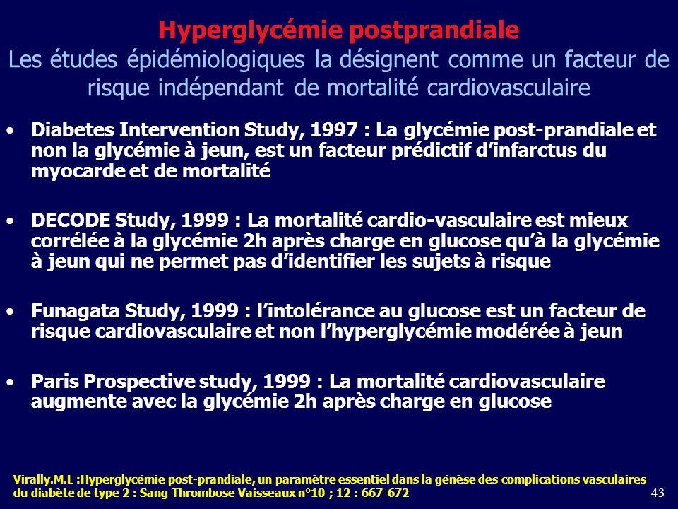 43 Hyperglycémie postprandiale Les études épidémiologiques la désignent comme un facteur de risque indépendant de mortalité cardiovasculaire Diabetes Intervention Study, 1997 : La glycémie post-prandiale et non la glycémie à jeun, est un facteur prédictif dinfarctus du myocarde et de mortalité DECODE Study, 1999 : La mortalité cardio-vasculaire est mieux corrélée à la glycémie 2h après charge en glucose quà la glycémie à jeun qui ne permet pas didentifier les sujets à risque Funagata Study, 1999 : lintolérance au glucose est un facteur de risque cardiovasculaire et non lhyperglycémie modérée à jeun Paris Prospective study, 1999 : La mortalité cardiovasculaire augmente avec la glycémie 2h après charge en glucose Virally.M.L :Hyperglycémie post-prandiale, un paramètre essentiel dans la génèse des complications vasculaires du diabète de type 2 : Sang Thrombose Vaisseaux n°10 ; 12 : 667-672