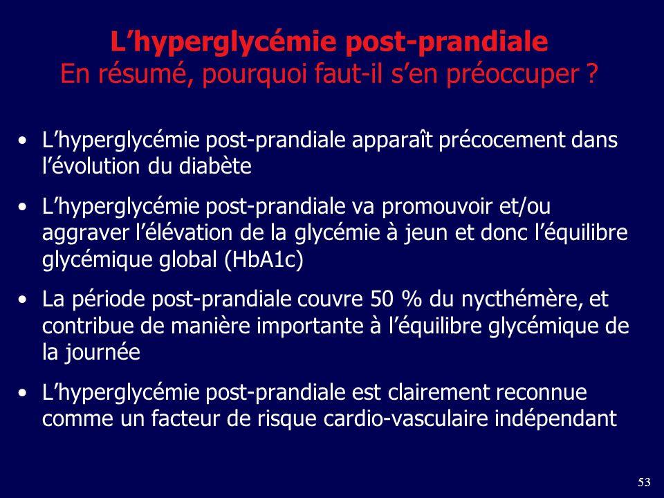 53 Lhyperglycémie post-prandiale En résumé, pourquoi faut-il sen préoccuper .