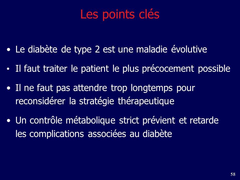 58 Les points clés Le diabète de type 2 est une maladie évolutive Il faut traiter le patient le plus précocement possible Il ne faut pas attendre trop longtemps pour reconsidérer la stratégie thérapeutique Un contrôle métabolique strict prévient et retarde les complications associées au diabète