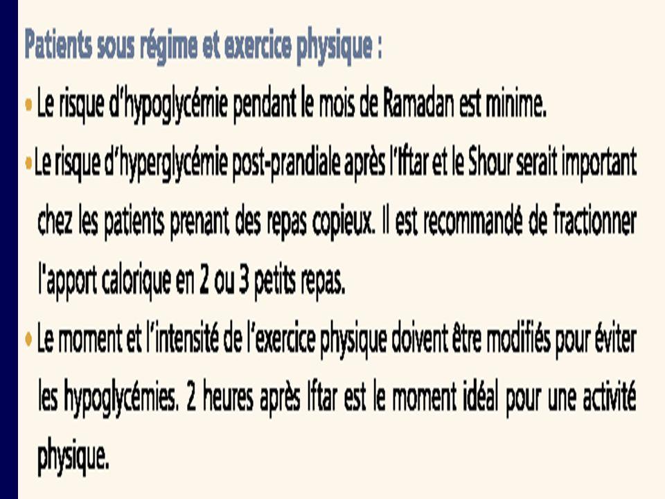 67 CONCLUSION Le mois de jeûne du Ramadan, de par son importance particulière chez les musulmans et des troubles de lhémostase glucidique quil peut générer chez les diabétiques, constitue une période critique pendant laquelle nos patients devraient être suivis de plus près.