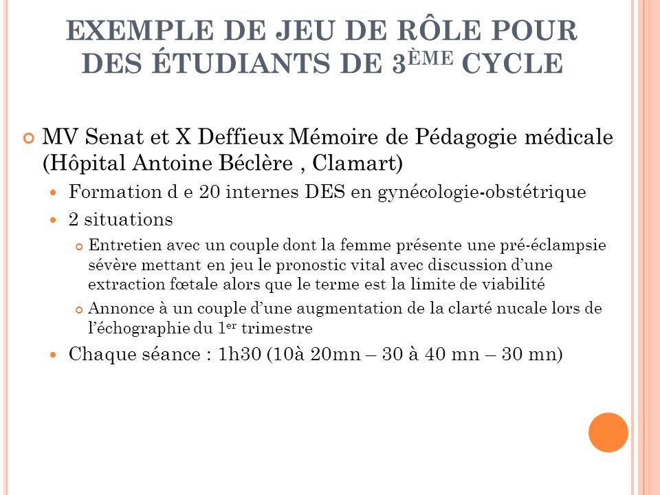 EXEMPLE DE JEU DE RÔLE POUR DES ÉTUDIANTS DE 3 ÈME CYCLE MV Senat et X Deffieux Mémoire de Pédagogie médicale (Hôpital Antoine Béclère, Clamart) Forma