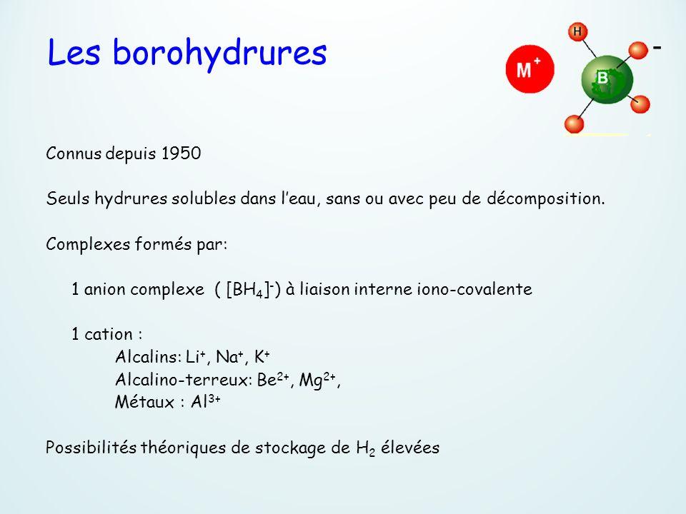 Les borohydrures - Connus depuis 1950 Seuls hydrures solubles dans leau, sans ou avec peu de décomposition. Complexes formés par: 1 anion complexe ( [