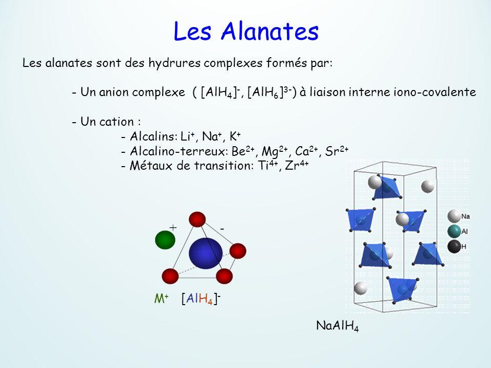 Les alanates sont des hydrures complexes formés par: - Un anion complexe ( [AlH 4 ] -, [AlH 6 ] 3- ) à liaison interne iono-covalente - Un cation : -