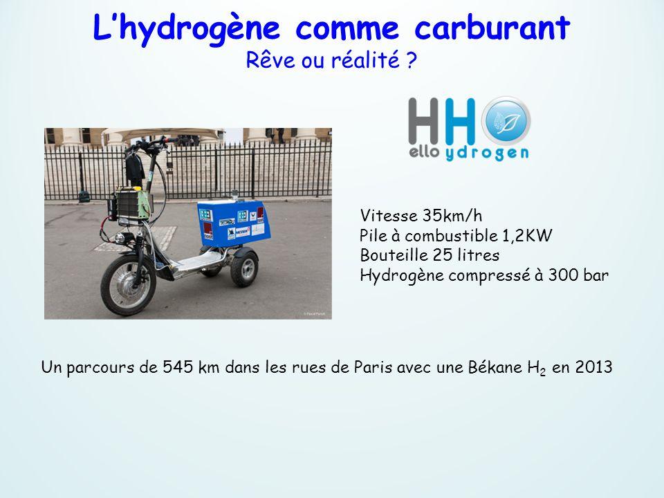 Vitesse 35km/h Pile à combustible 1,2KW Bouteille 25 litres Hydrogène compressé à 300 bar Un parcours de 545 km dans les rues de Paris avec une Békane
