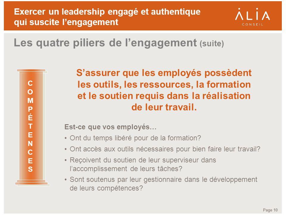 TITRE DE LA PRÉSENTATION Page 10 Exercer un leadership engagé et authentique qui suscite lengagement Sassurer que les employés possèdent les outils, l