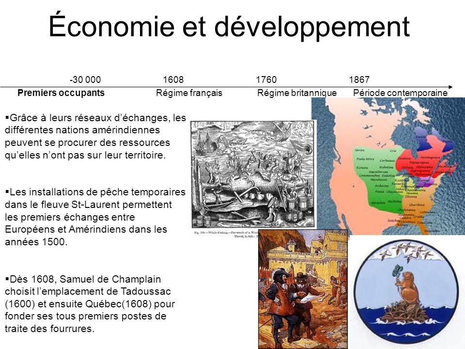 -30 000 1608 1760 1867 Premiers occupants Régime français Régime britannique Période contemporaine Économie et développement De 1608 à 1663, le développement de la colonie de la Nouvelle-France est entre les mains des compagnies de fourrures à monopoles.
