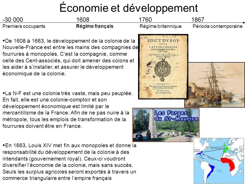Économie et développement -30 000 1608 1760 1867 Premiers occupants Régime français Régime britannique Période contemporaine Avant même la Conquête, une compagnie de fourrures anglaise, la Compagnie de la Baie dHudson, opérait sur le territoire.