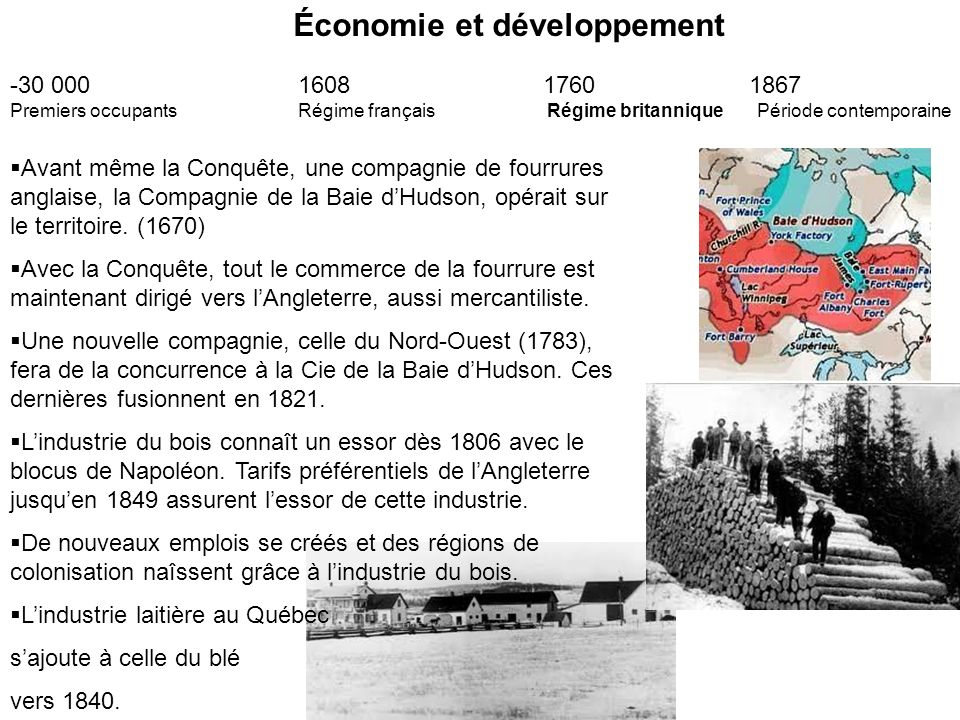 Économie et développement -30 000 1608 1760 1867 Premiers occupants Régime français Régime britannique Période contemporaine Le traité de réciprocité avec les États-Unis dure de 1854-1866.