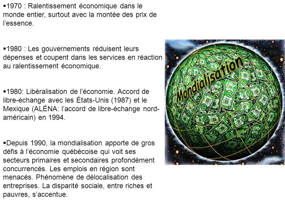 1970 : Ralentissement économique dans le monde entier, surtout avec la montée des prix de lessence. 1980 : Les gouvernements réduisent leurs dépenses