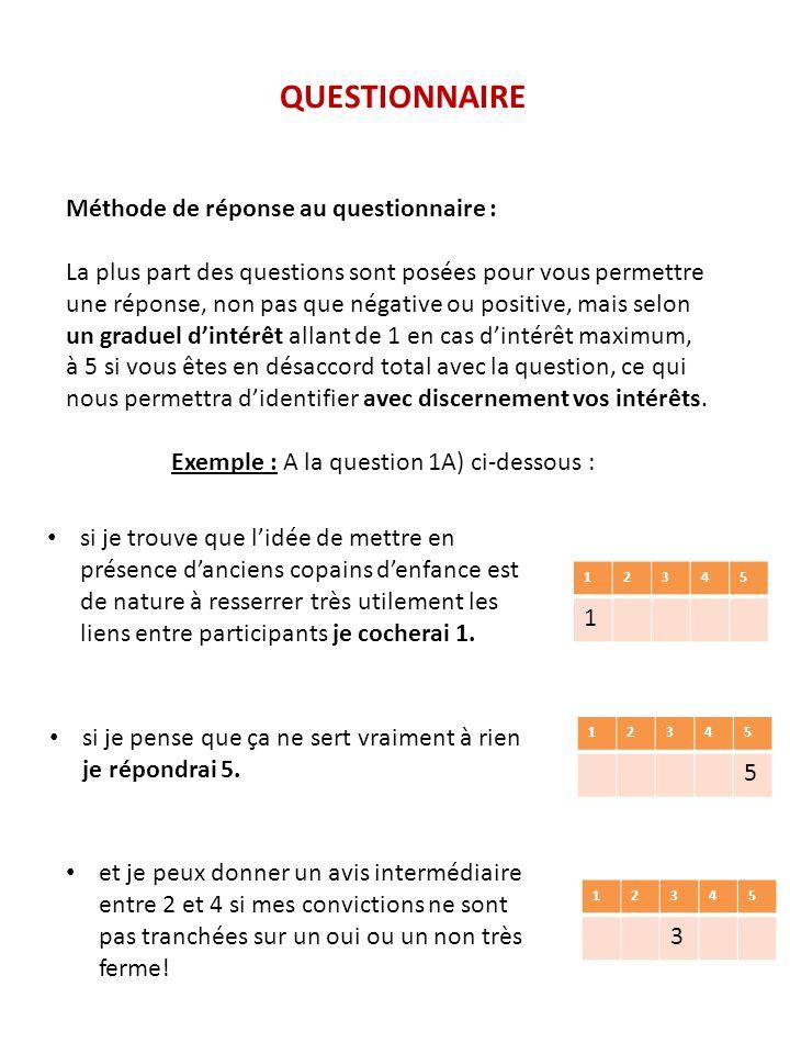 QUESTIONNAIRE Méthode de réponse au questionnaire : La plus part des questions sont posées pour vous permettre une réponse, non pas que négative ou po
