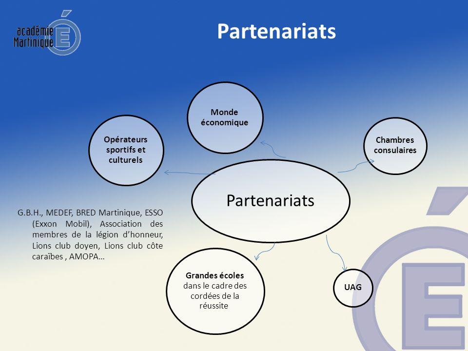 Partenariats Opérateurs sportifs et culturels Chambres consulaires UAG Grandes écoles dans le cadre des cordées de la réussite Monde économique G.B.H.