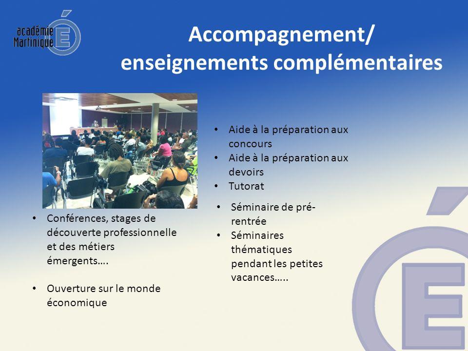 Accompagnement/ enseignements complémentaires Conférences, stages de découverte professionnelle et des métiers émergents…. Ouverture sur le monde écon