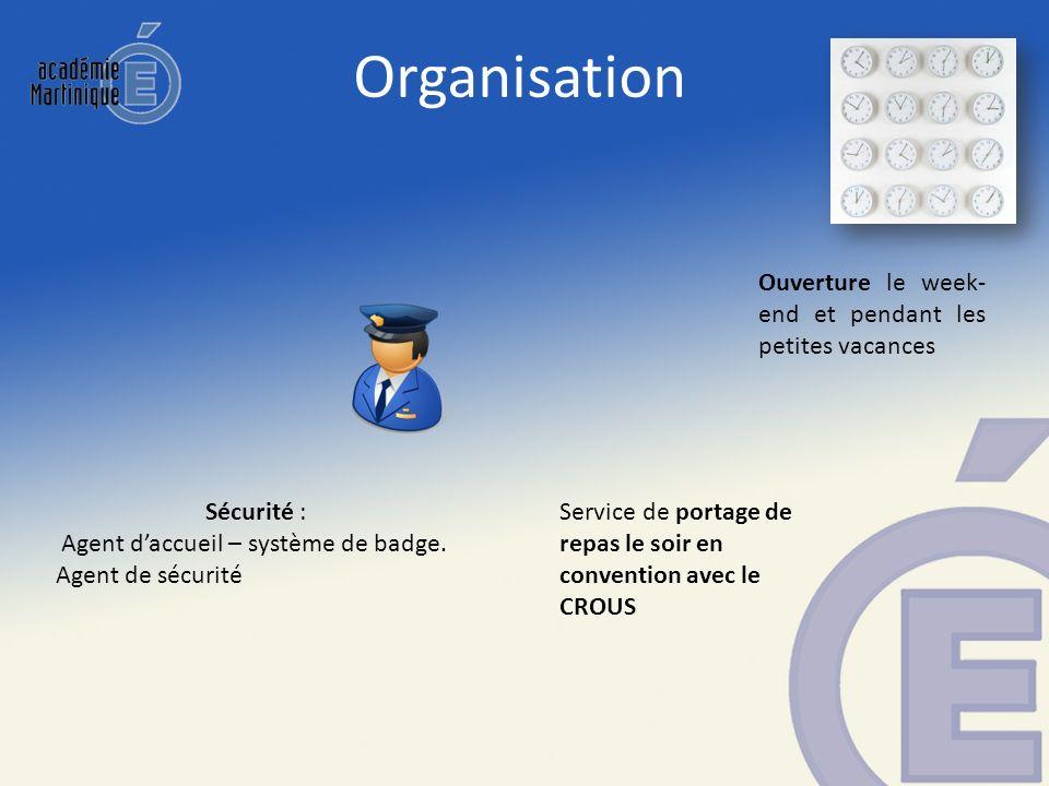 Organisation Sécurité : Agent daccueil – système de badge. Agent de sécurité Ouverture le week- end et pendant les petites vacances Service de portage