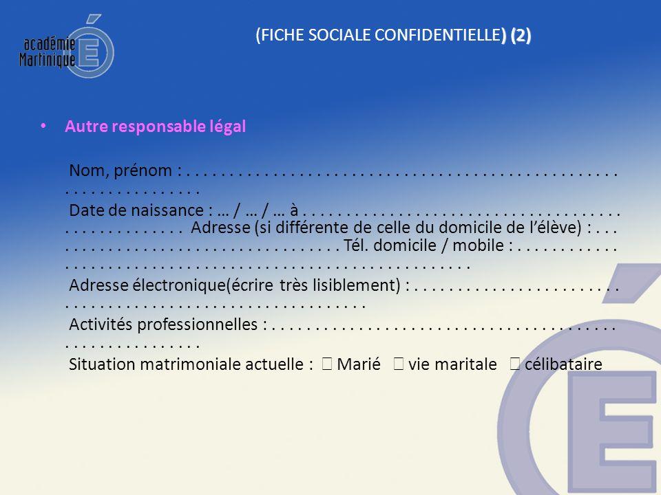 ) (2) (FICHE SOCIALE CONFIDENTIELLE) (2) Autre responsable légal Nom, prénom :.................................................................. Date