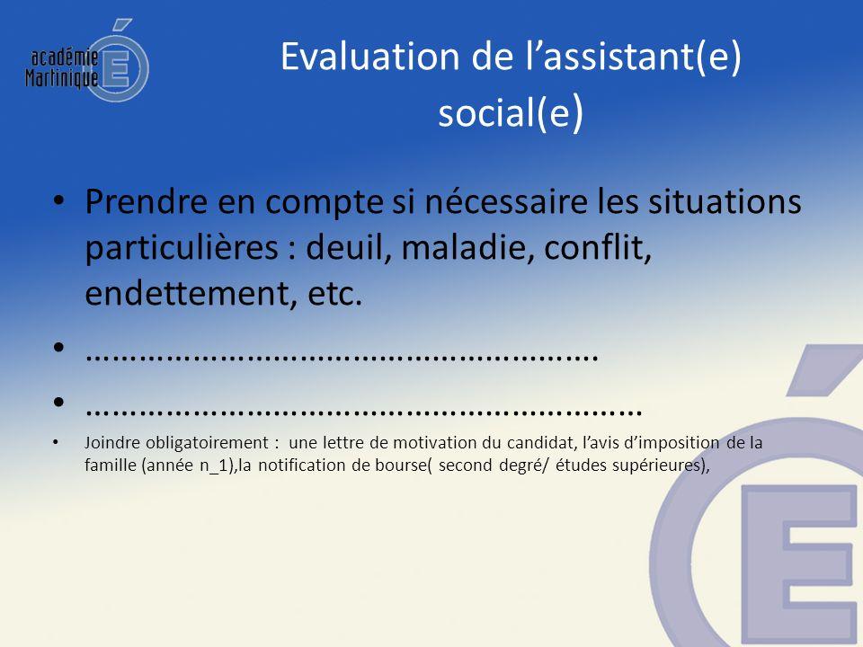 Evaluation de lassistant(e) social(e ) Prendre en compte si nécessaire les situations particulières : deuil, maladie, conflit, endettement, etc. ……………