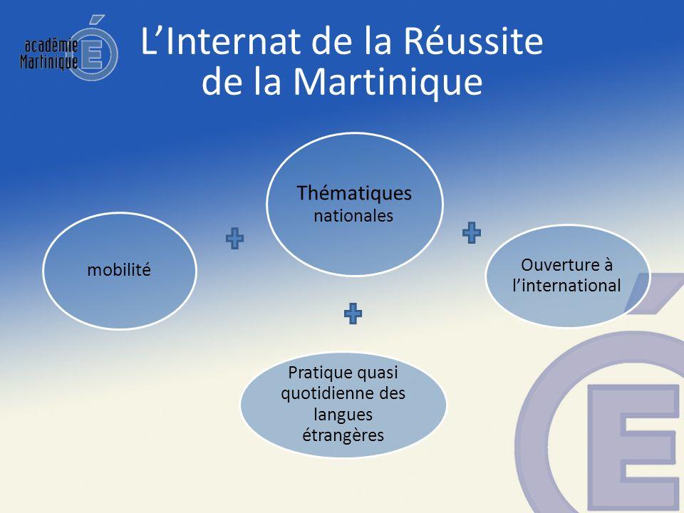 Thématiques nationales Ouverture à linternational Pratique quasi quotidienne des langues étrangères mobilité LInternat de la Réussite de la Martinique