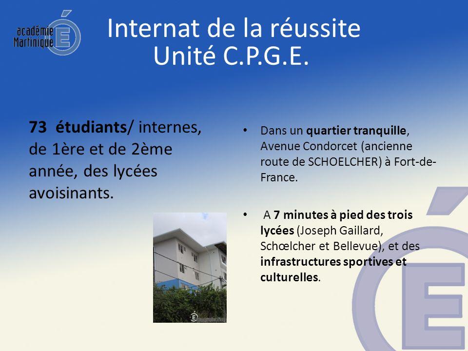 Internat de la réussite Unité C.P.G.E. 73 étudiants/ internes, de 1ère et de 2ème année, des lycées avoisinants. Dans un quartier tranquille, Avenue C