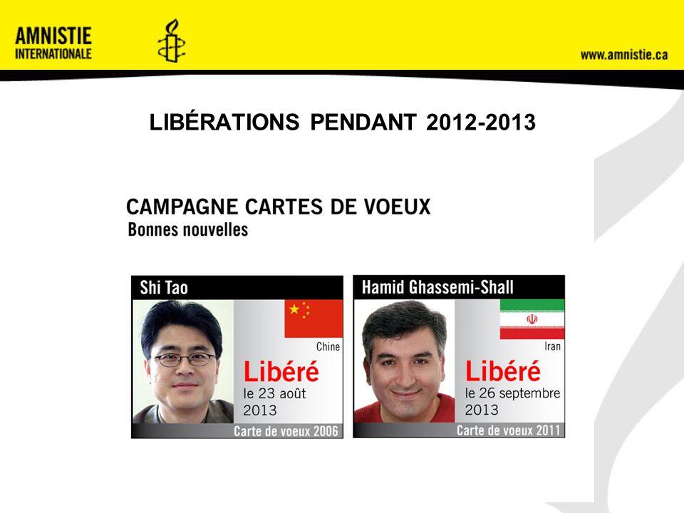 LIBÉRATIONS PENDANT 2012-2013