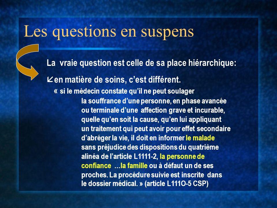Les questions en suspens « si le médecin constate quil ne peut soulager la souffrance dune personne, en phase avancée ou terminale dune affection grav