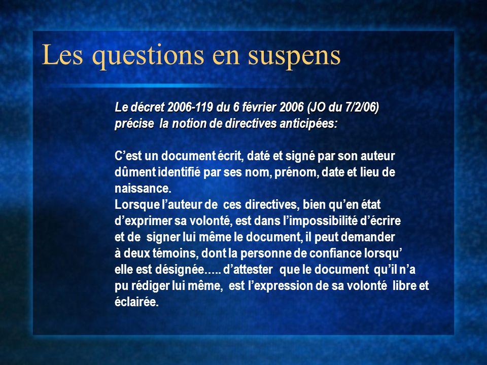 Les questions en suspens Le décret 2006-119 du 6 février 2006 (JO du 7/2/06) précise la notion de directives anticipées: Cest un document écrit, daté