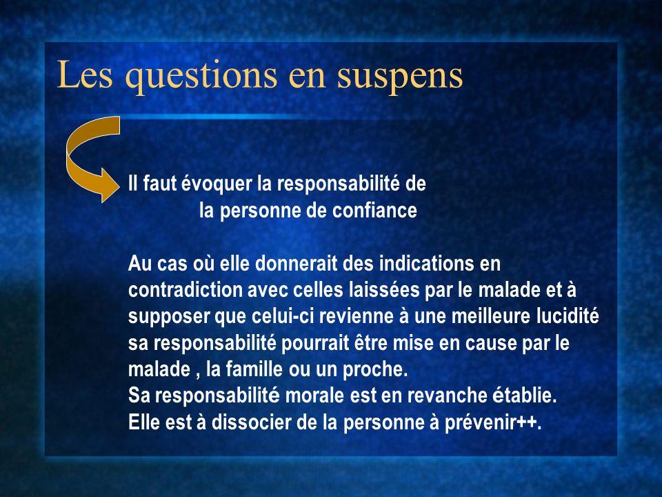 Les questions en suspens Il faut évoquer la responsabilité de la personne de confiance Au cas où elle donnerait des indications en contradiction avec