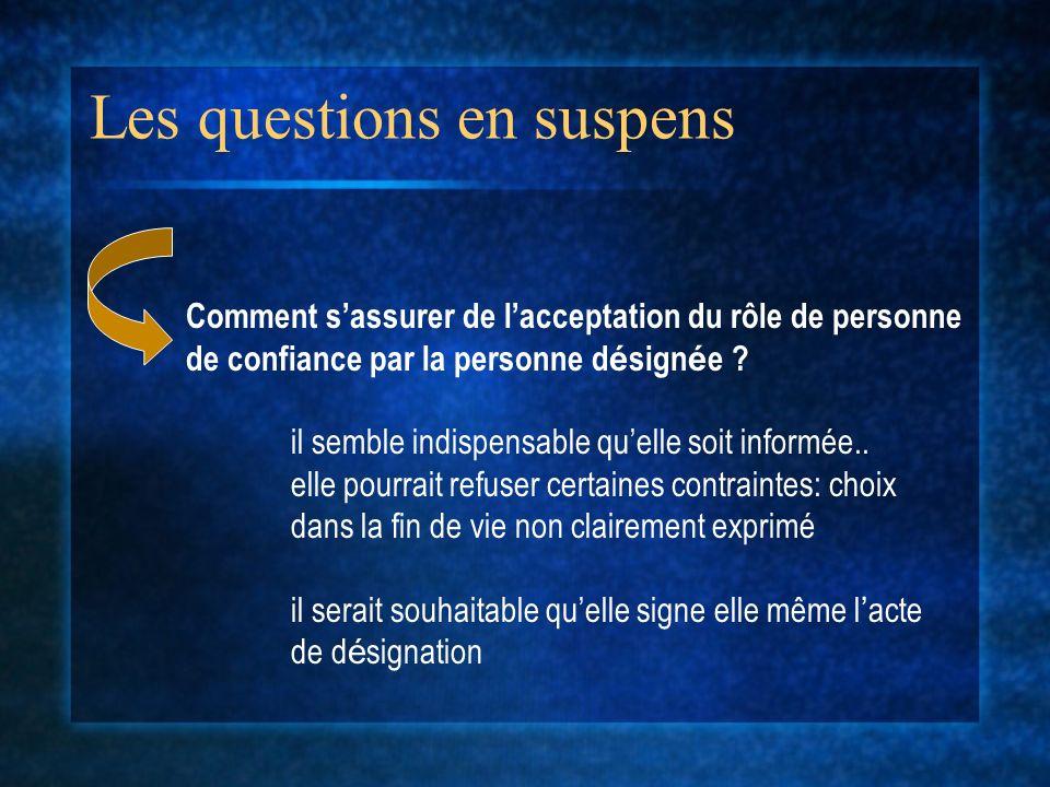 Les questions en suspens Comment sassurer de lacceptation du rôle de personne de confiance par la personne d é sign é e .