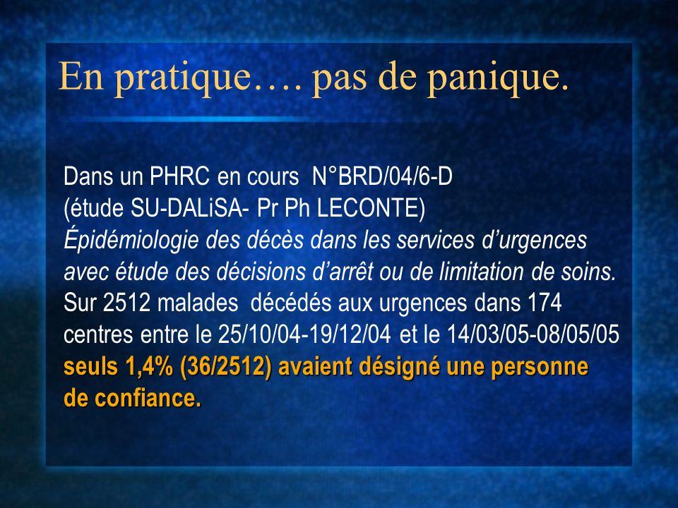 En pratique…. pas de panique. Dans un PHRC en cours N°BRD/04/6-D (étude SU-DALiSA- Pr Ph LECONTE) Épidémiologie des décès dans les services durgences