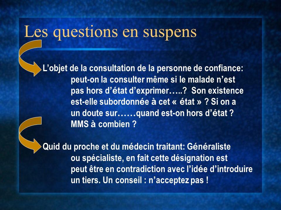 Les questions en suspens Lobjet de la consultation de la personne de confiance: peut-on la consulter même si le malade n est pas hors d é tat d exprim