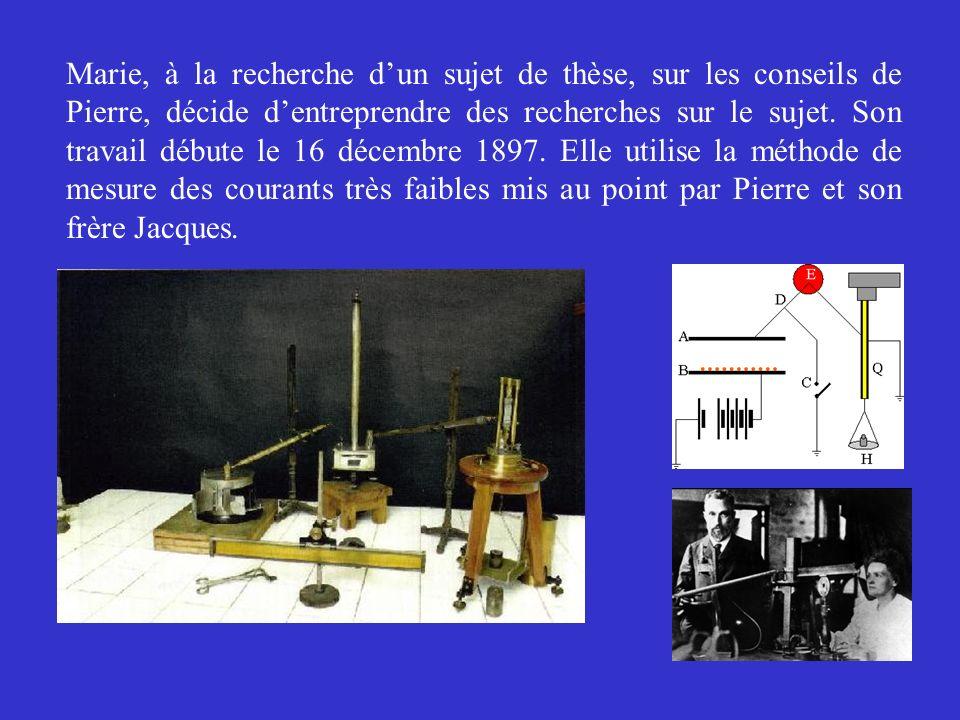 Marie saperçoit aussitôt que le rayonnement est une propriété spécifique de latome duranium : son intensité est proportionnelle à la quantité duranium contenue dans le sel.