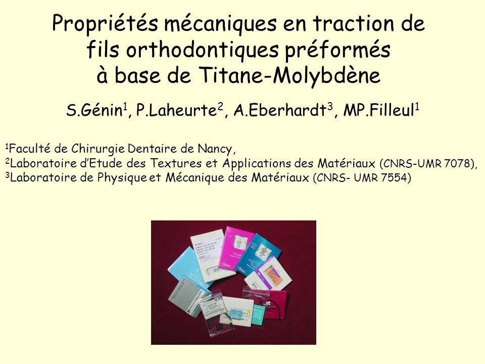 Propriétés mécaniques en traction de fils orthodontiques préformés à base de Titane-Molybdène S.Génin 1, P.Laheurte 2, A.Eberhardt 3, MP.Filleul 1 1 F