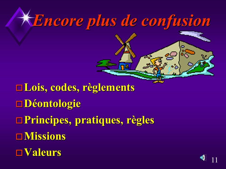 11 Encore plus de confusion o Lois, codes, règlements o Déontologie o Principes, pratiques, règles o Missions o Valeurs