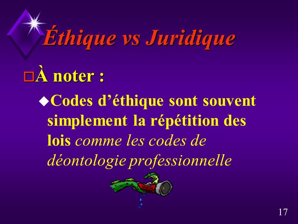 17 Éthique vs Juridique o À noter : u Codes déthique sont souvent simplement la répétition des lois comme les codes de déontologie professionnelle