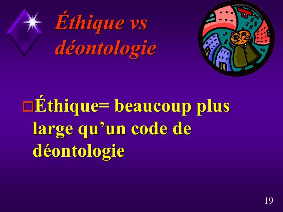 19 Éthique vs déontologie o Éthique= beaucoup plus large quun code de déontologie