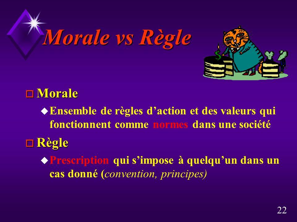 22 Morale vs Règle o Morale u Ensemble de règles daction et des valeurs qui fonctionnent comme normes dans une société o Règle u Prescription qui simpose à quelquun dans un cas donné (convention, principes)
