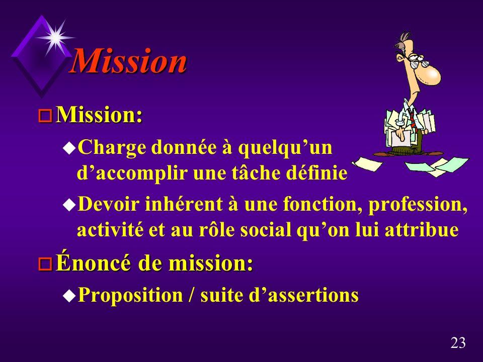 23 Mission o Mission: u Charge donnée à quelquun daccomplir une tâche définie u Devoir inhérent à une fonction, profession, activité et au rôle social quon lui attribue o Énoncé de mission: u Proposition / suite dassertions