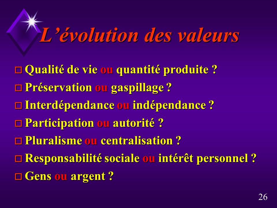 26 Lévolution des valeurs o Qualité de vie ou quantité produite .