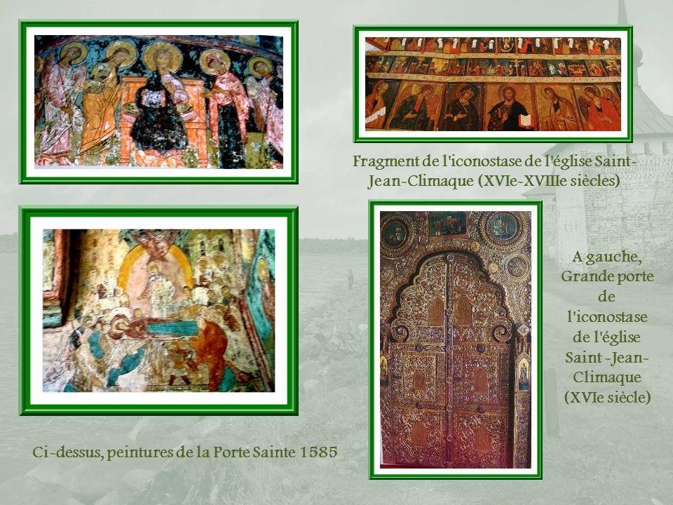 Peintures de la Porte Sainte, église Saint-Jean-Climaque Cette diapositive et les trois suivantes montrent quelques-unes des richesses du monastère, photographiées sur un livret qui le présente.