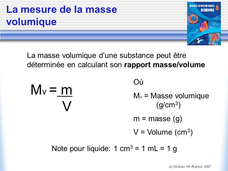 (c) McGraw Hill Ryerson 2007 La mesure de la masse volumique La masse volumique dune substance peut être déterminée en calculant son rapport masse/vol