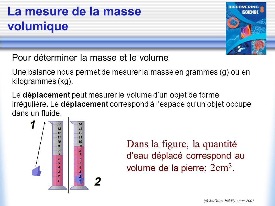 (c) McGraw Hill Ryerson 2007 La mesure de la masse volumique Pour déterminer la masse et le volume Une balance nous permet de mesurer la masse en gram