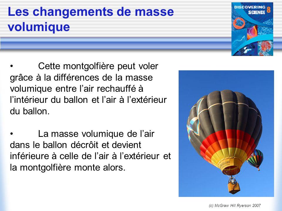 (c) McGraw Hill Ryerson 2007 Les changements de masse volumique Cette montgolfière peut voler grâce à la différences de la masse volumique entre lair