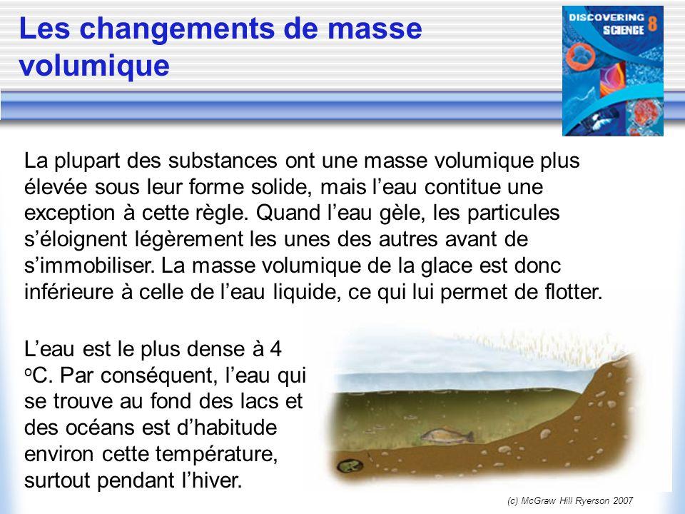 (c) McGraw Hill Ryerson 2007 Les changements de masse volumique La plupart des substances ont une masse volumique plus élevée sous leur forme solide,
