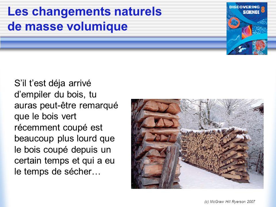 (c) McGraw Hill Ryerson 2007 Les changements naturels de masse volumique Sil test déja arrivé dempiler du bois, tu auras peut-être remarqué que le boi