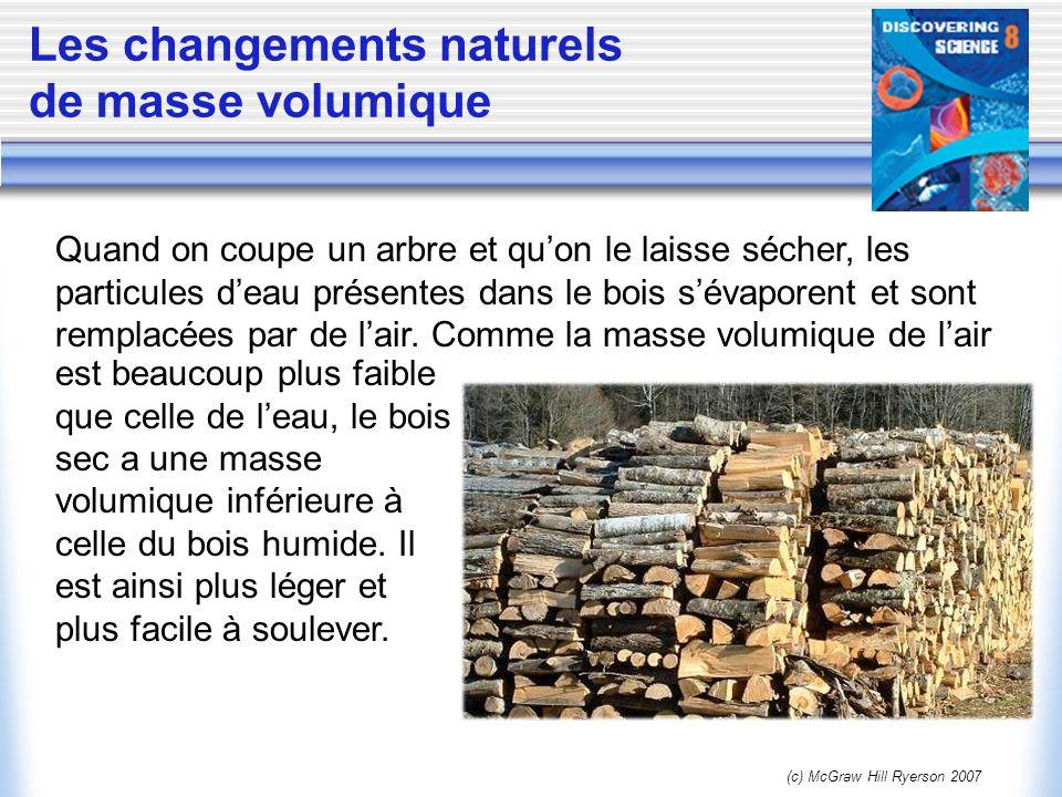 (c) McGraw Hill Ryerson 2007 Les changements naturels de masse volumique Quand on coupe un arbre et quon le laisse sécher, les particules deau présent