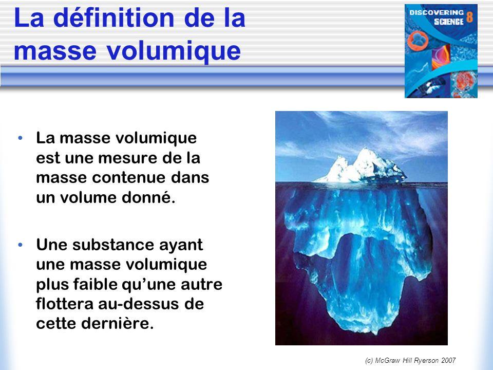 (c) McGraw Hill Ryerson 2007 La définition de la masse volumique La masse volumique est une mesure de la masse contenue dans un volume donné. Une subs