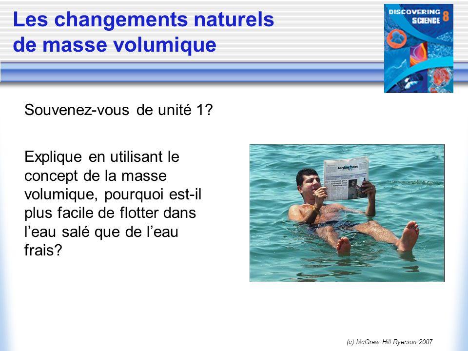 (c) McGraw Hill Ryerson 2007 Les changements naturels de masse volumique Explique en utilisant le concept de la masse volumique, pourquoi est-il plus