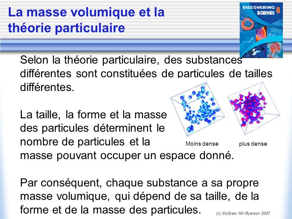(c) McGraw Hill Ryerson 2007 Les changements de masse volumique Selon la théorie particulaire, les particules dune substance séloignent les unes des autres à mesure quelles gagnent de lénergie sous leffet de la chaleur.