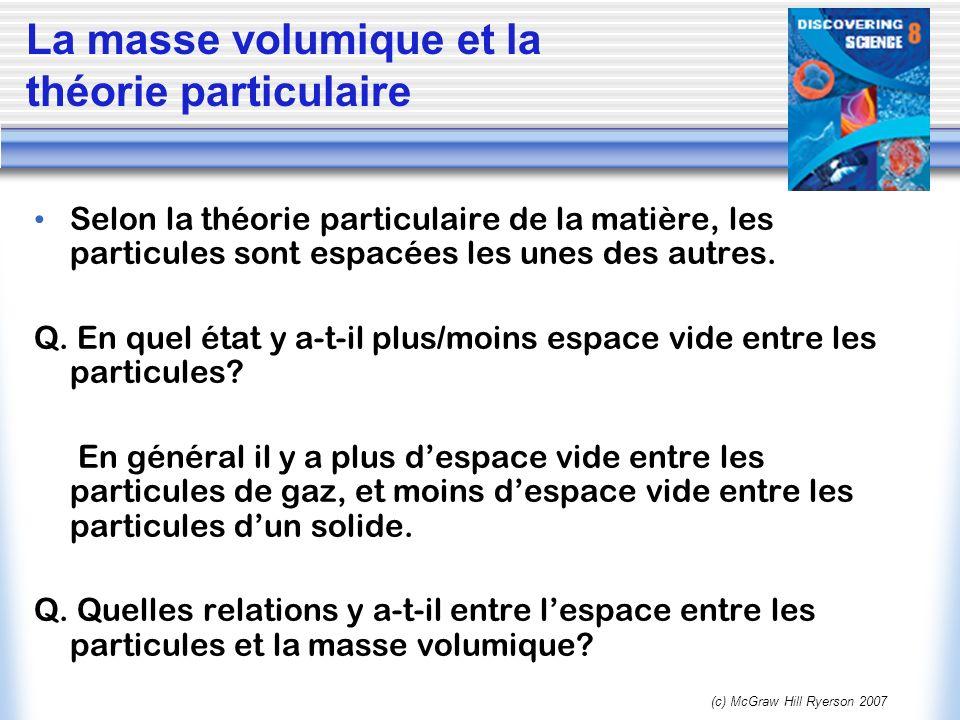 (c) McGraw Hill Ryerson 2007 Selon la théorie particulaire de la matière, les particules sont espacées les unes des autres. Q. En quel état y a-t-il p